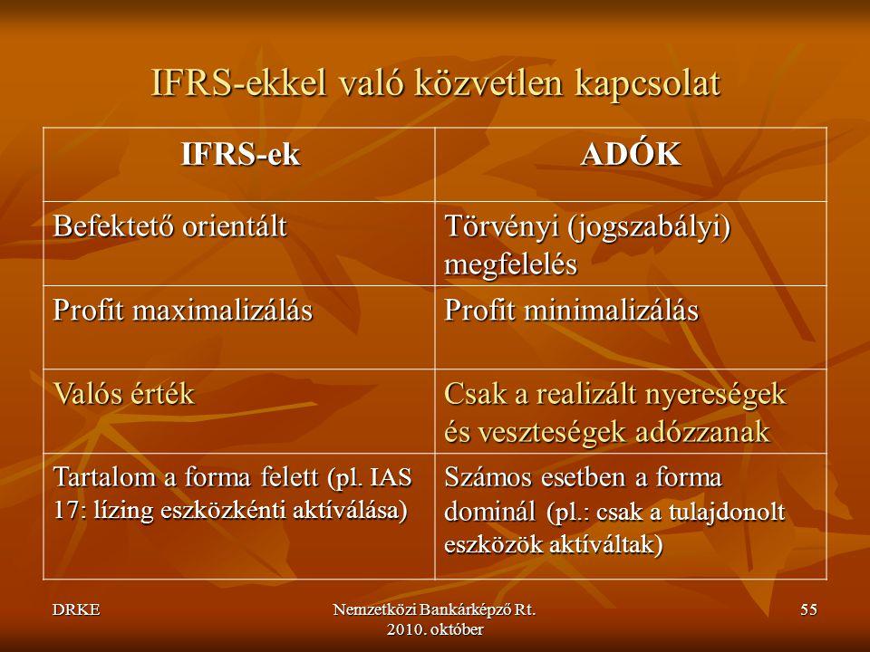 DRKENemzetközi Bankárképző Rt. 2010. október 55 IFRS-ekkel való közvetlen kapcsolat IFRS-ek ADÓK Befektető orientált Törvényi (jogszabályi) megfelelés