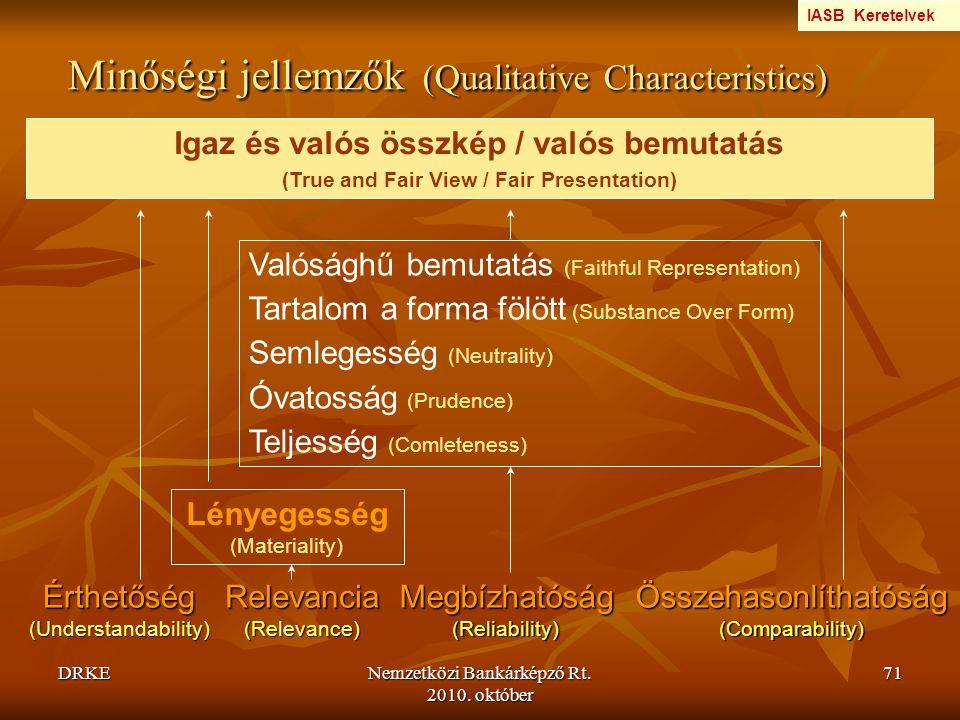 DRKENemzetközi Bankárképző Rt. 2010. október 71 Minőségi jellemzők (Qualitative Characteristics) Érthetőség (Understandability) Relevancia (Relevance)