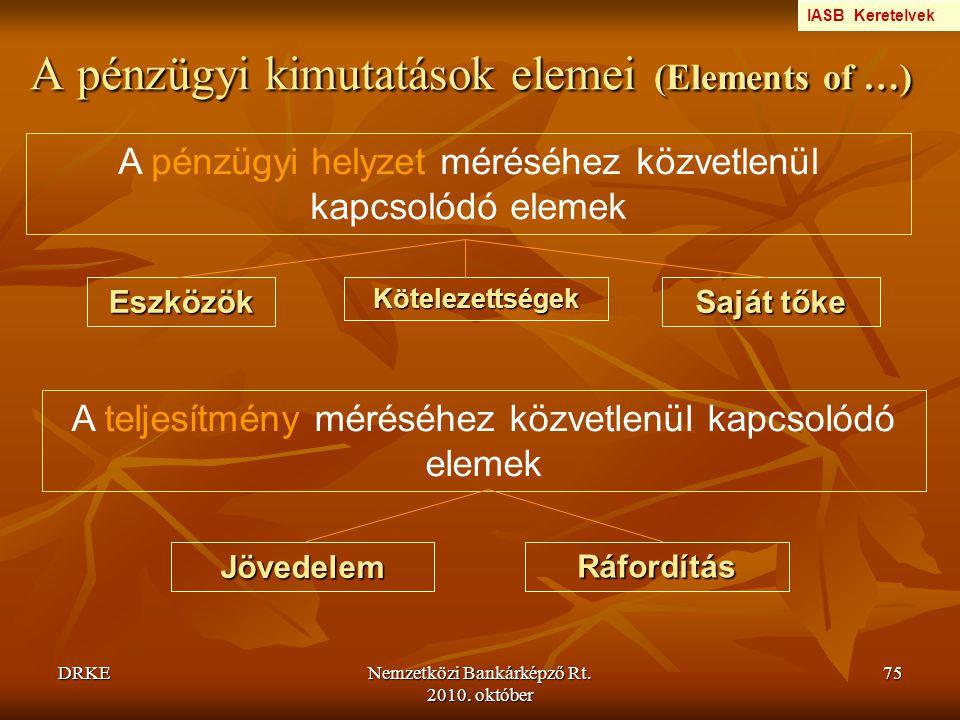 DRKENemzetközi Bankárképző Rt. 2010. október 75 A pénzügyi kimutatások elemei (Elements of …) A pénzügyi helyzet méréséhez közvetlenül kapcsolódó elem