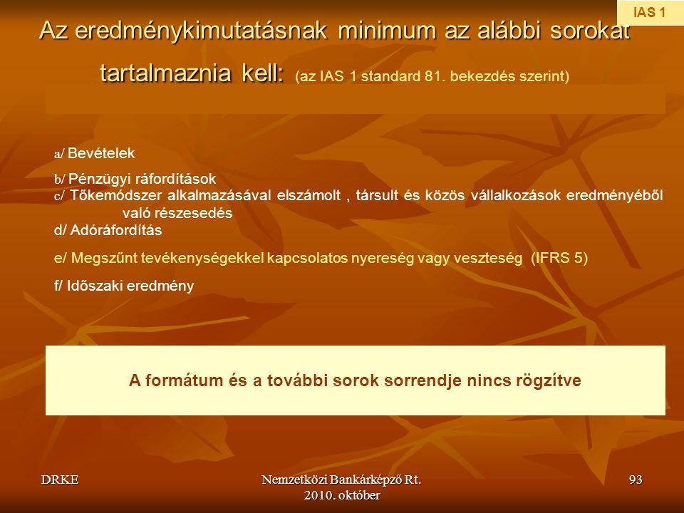 DRKENemzetközi Bankárképző Rt. 2010. október 93 Az eredménykimutatásnak minimum az alábbi sorokat tartalmaznia kell: Az eredménykimutatásnak minimum a