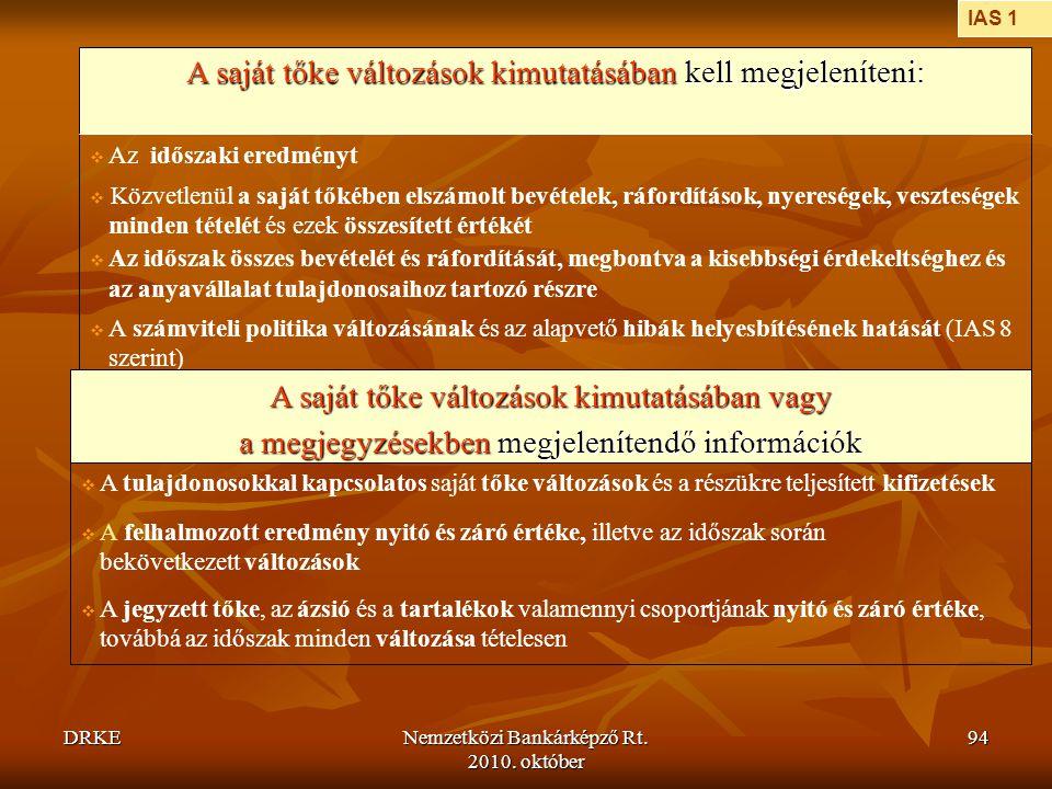DRKENemzetközi Bankárképző Rt. 2010. október 94  A számviteli politika változásának és az alapvető hibák helyesbítésének hatását (IAS 8 szerint)  Kö