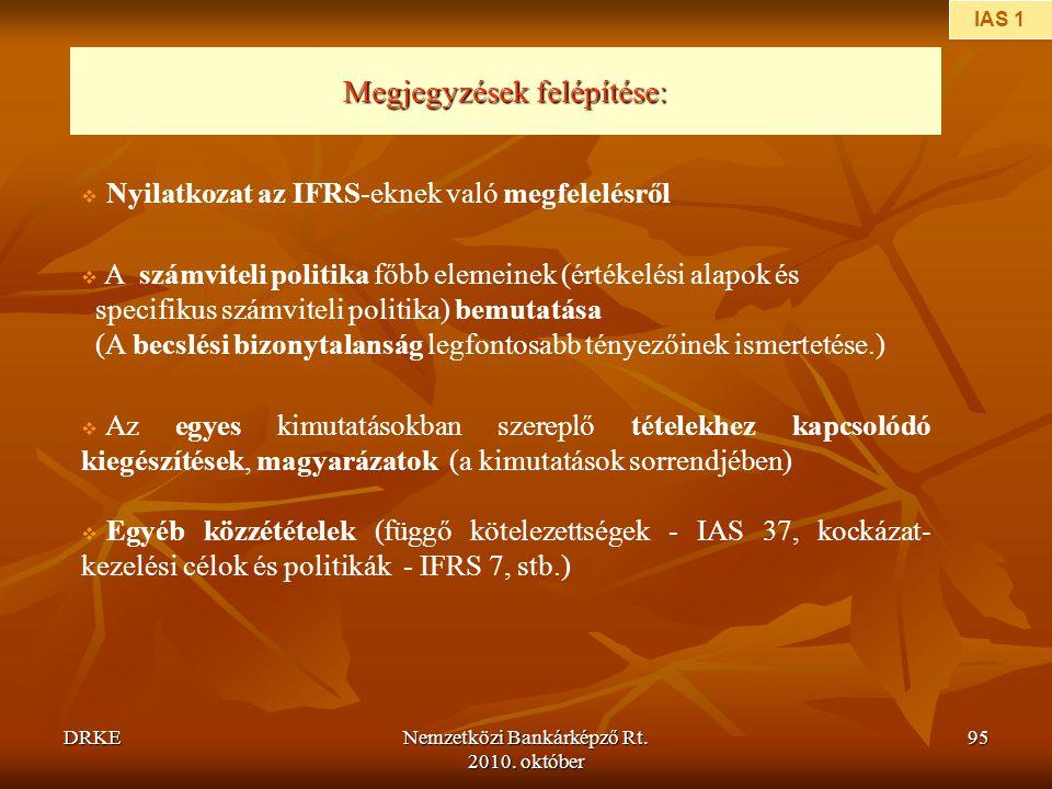 DRKENemzetközi Bankárképző Rt. 2010. október 95  Az egyes kimutatásokban szereplő tételekhez kapcsolódó kiegészítések, magyarázatok (a kimutatások so
