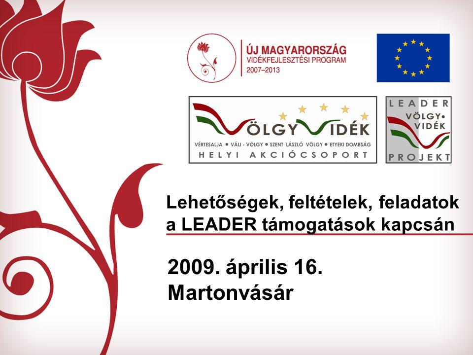 Lehetőségek, feltételek, feladatok a LEADER támogatások kapcsán 2009. április 16. Martonvásár