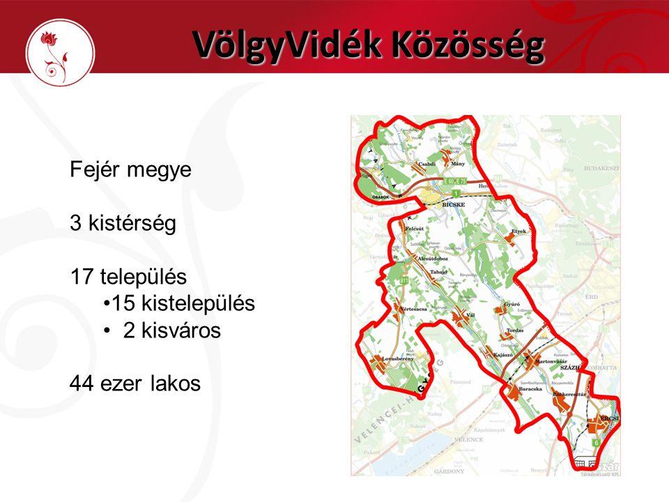 VölgyVidék Közösség Fejér megye 3 kistérség 17 település •15 kistelepülés • 2 kisváros 44 ezer lakos