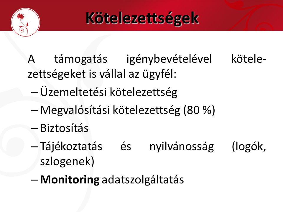 Kötelezettségek A támogatás igénybevételével kötele- zettségeket is vállal az ügyfél: – Üzemeltetési kötelezettség – Megvalósítási kötelezettség (80 %) – Biztosítás – Tájékoztatás és nyilvánosság (logók, szlogenek) – Monitoring adatszolgáltatás