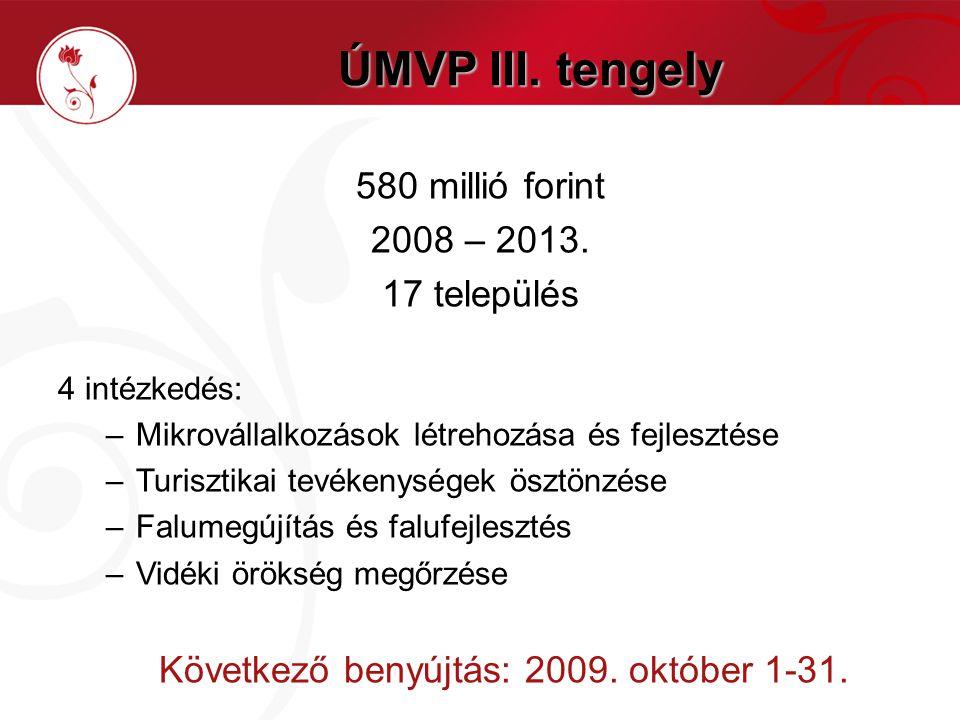 ÚMVP III. tengely 580 millió forint 2008 – 2013.