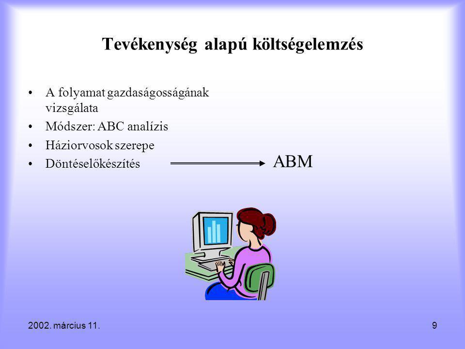 2002. március 11.9 Tevékenység alapú költségelemzés •A folyamat gazdaságosságának vizsgálata •Módszer: ABC analízis •Háziorvosok szerepe •Döntéselőkés