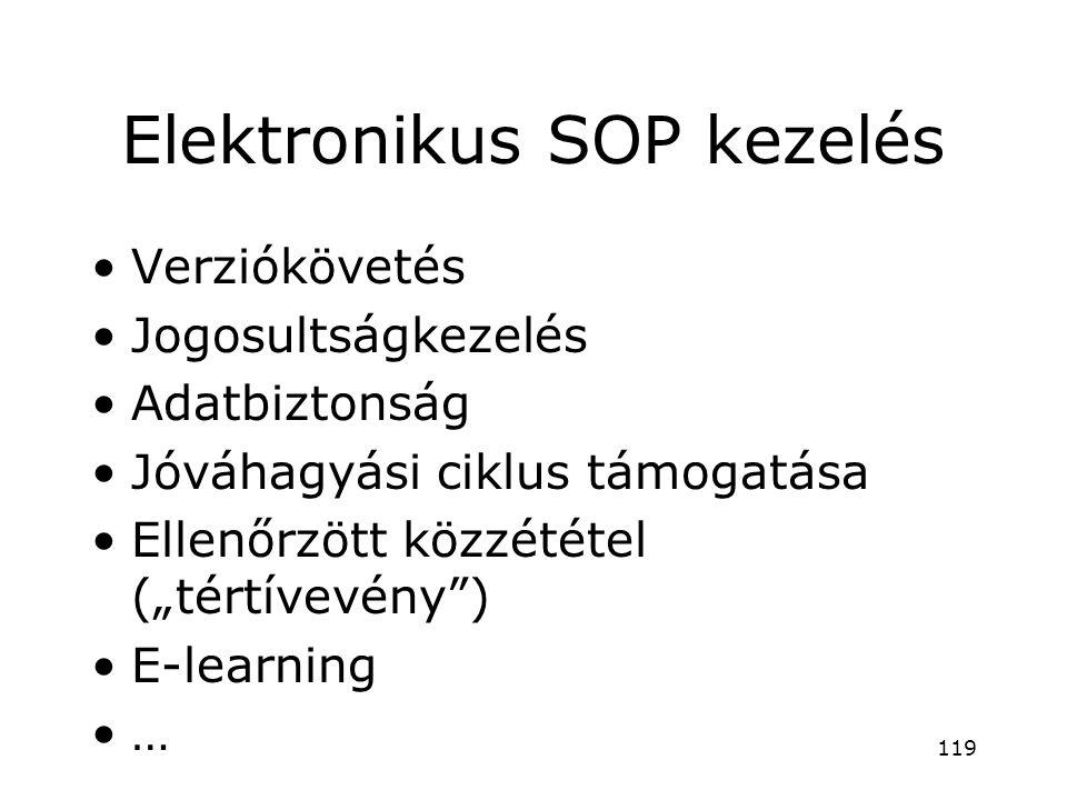 """Elektronikus SOP kezelés •Verziókövetés •Jogosultságkezelés •Adatbiztonság •Jóváhagyási ciklus támogatása •Ellenőrzött közzététel (""""tértívevény"""") •E-l"""