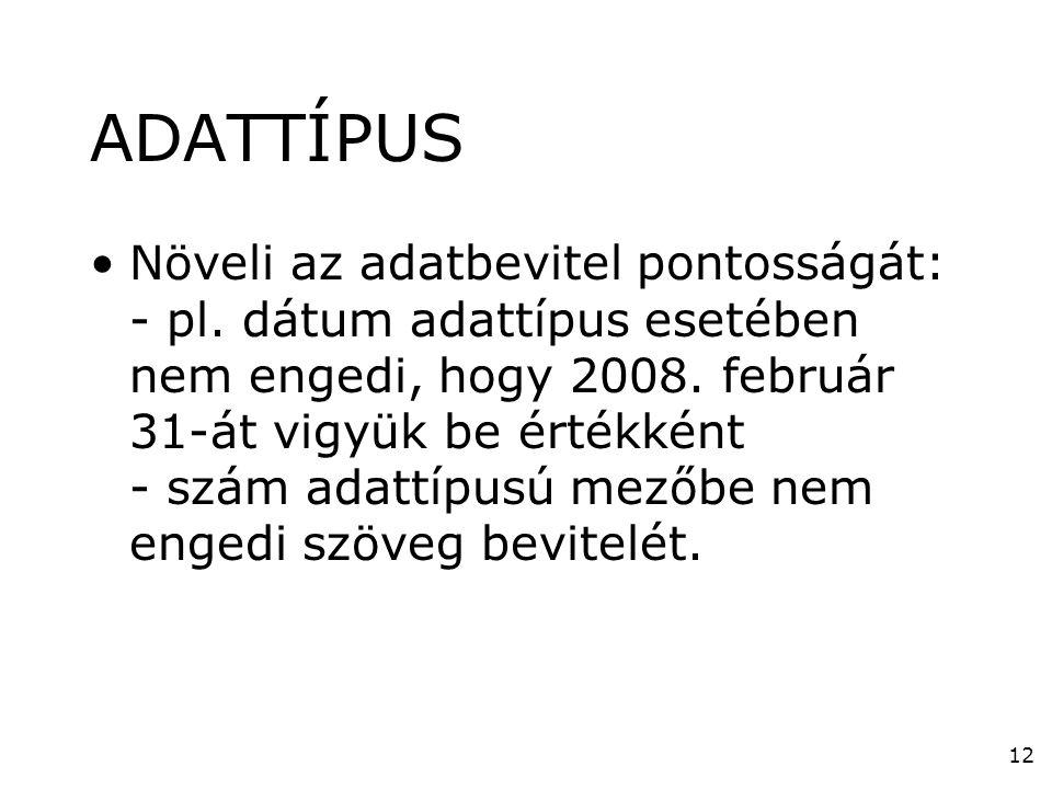 12 ADATTÍPUS •Növeli az adatbevitel pontosságát: - pl. dátum adattípus esetében nem engedi, hogy 2008. február 31-át vigyük be értékként - szám adattí