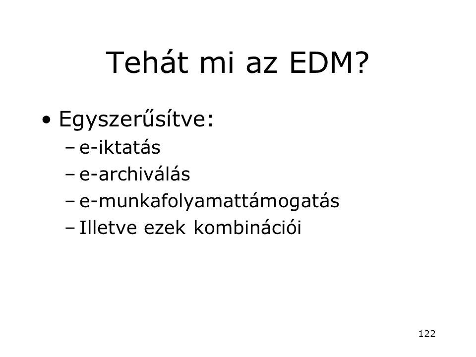 Tehát mi az EDM? •Egyszerűsítve: –e-iktatás –e-archiválás –e-munkafolyamattámogatás –Illetve ezek kombinációi 122