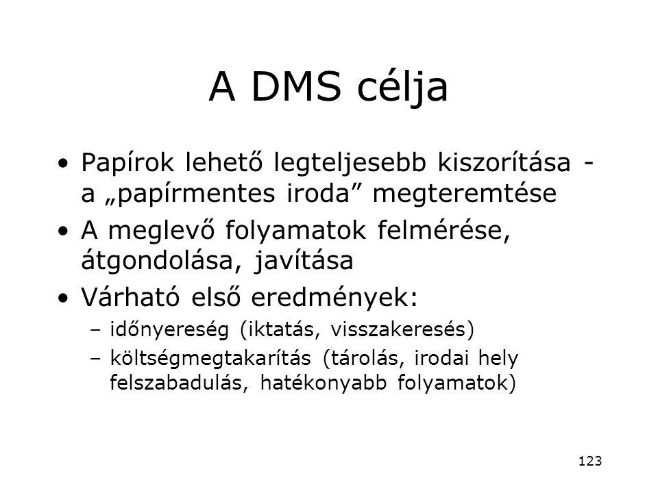 """A DMS célja •Papírok lehető legteljesebb kiszorítása - a """"papírmentes iroda"""" megteremtése •A meglevő folyamatok felmérése, átgondolása, javítása •Várh"""