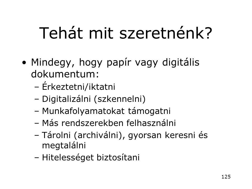 Tehát mit szeretnénk? •Mindegy, hogy papír vagy digitális dokumentum: –Érkeztetni/iktatni –Digitalizálni (szkennelni) –Munkafolyamatokat támogatni –Má