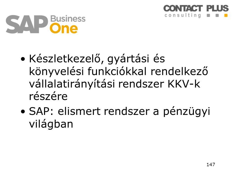 •Készletkezelő, gyártási és könyvelési funkciókkal rendelkező vállalatirányítási rendszer KKV-k részére •SAP: elismert rendszer a pénzügyi világban 14