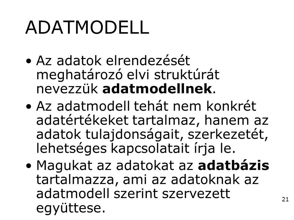 21 ADATMODELL •Az adatok elrendezését meghatározó elvi struktúrát nevezzük adatmodellnek. •Az adatmodell tehát nem konkrét adatértékeket tartalmaz, ha
