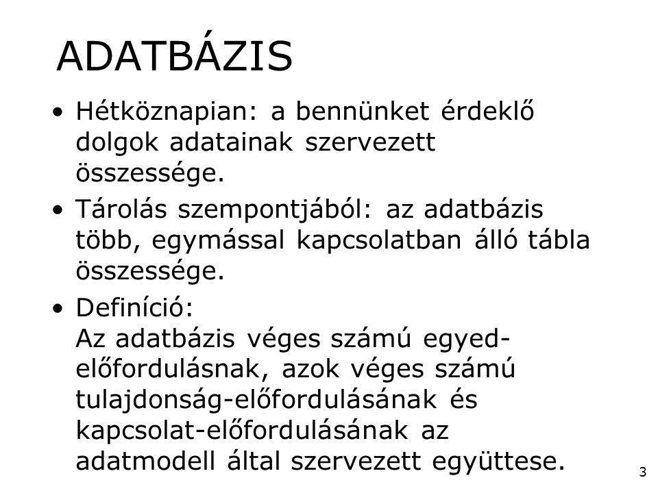 3 ADATBÁZIS •Hétköznapian: a bennünket érdeklő dolgok adatainak szervezett összessége. •Tárolás szempontjából: az adatbázis több, egymással kapcsolatb