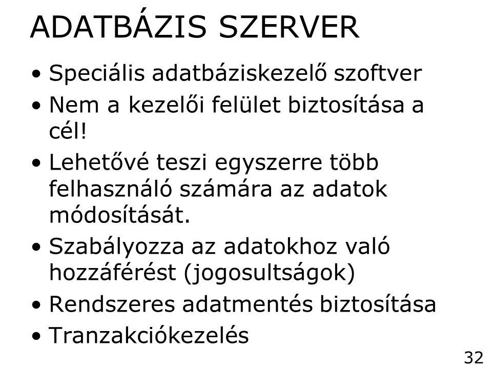 ADATBÁZIS SZERVER •Speciális adatbáziskezelő szoftver •Nem a kezelői felület biztosítása a cél! •Lehetővé teszi egyszerre több felhasználó számára az