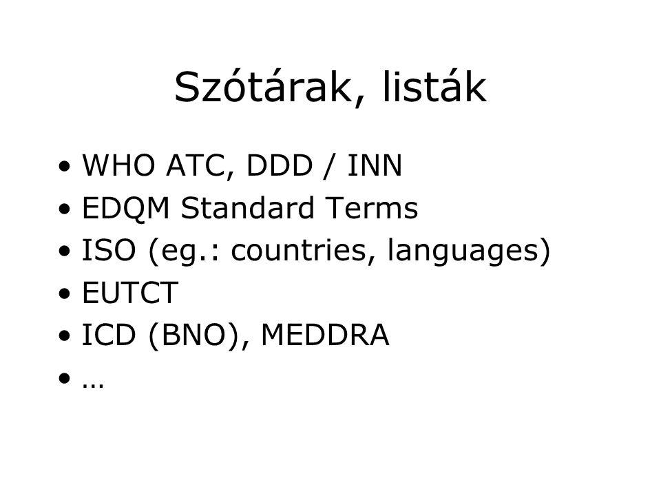 Szótárak, listák •WHO ATC, DDD / INN •EDQM Standard Terms •ISO (eg.: countries, languages) •EUTCT •ICD (BNO), MEDDRA •…
