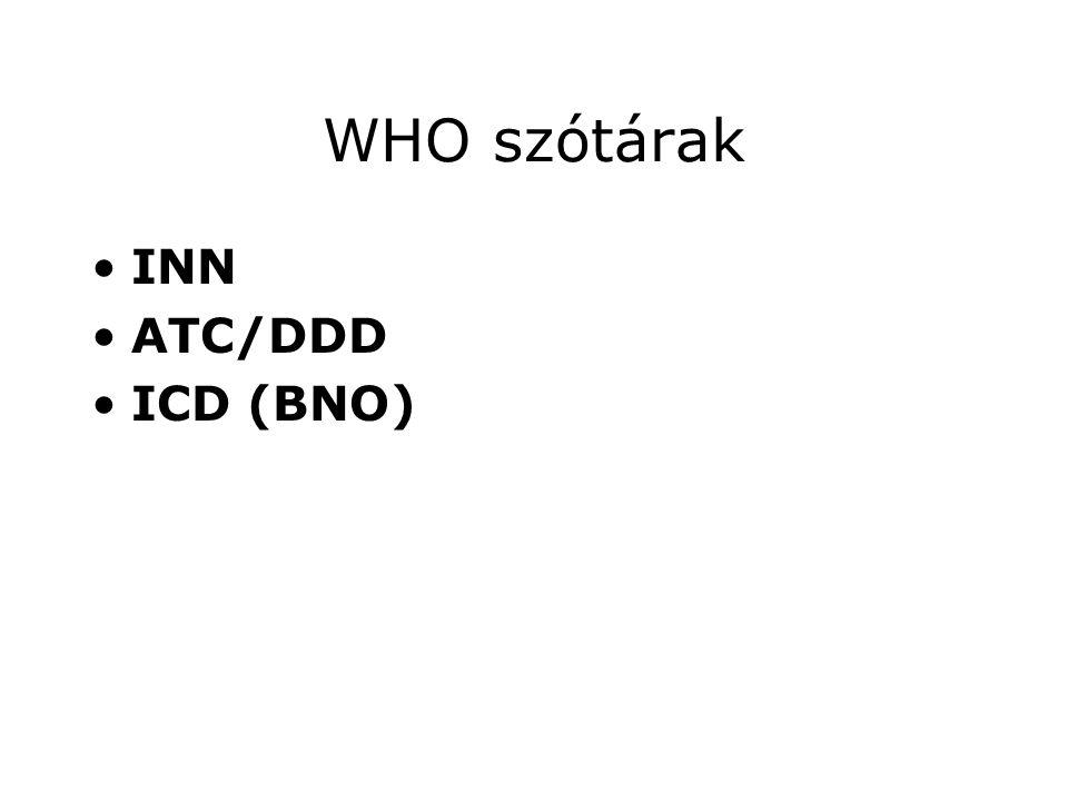 WHO szótárak •INN •ATC/DDD •ICD (BNO)