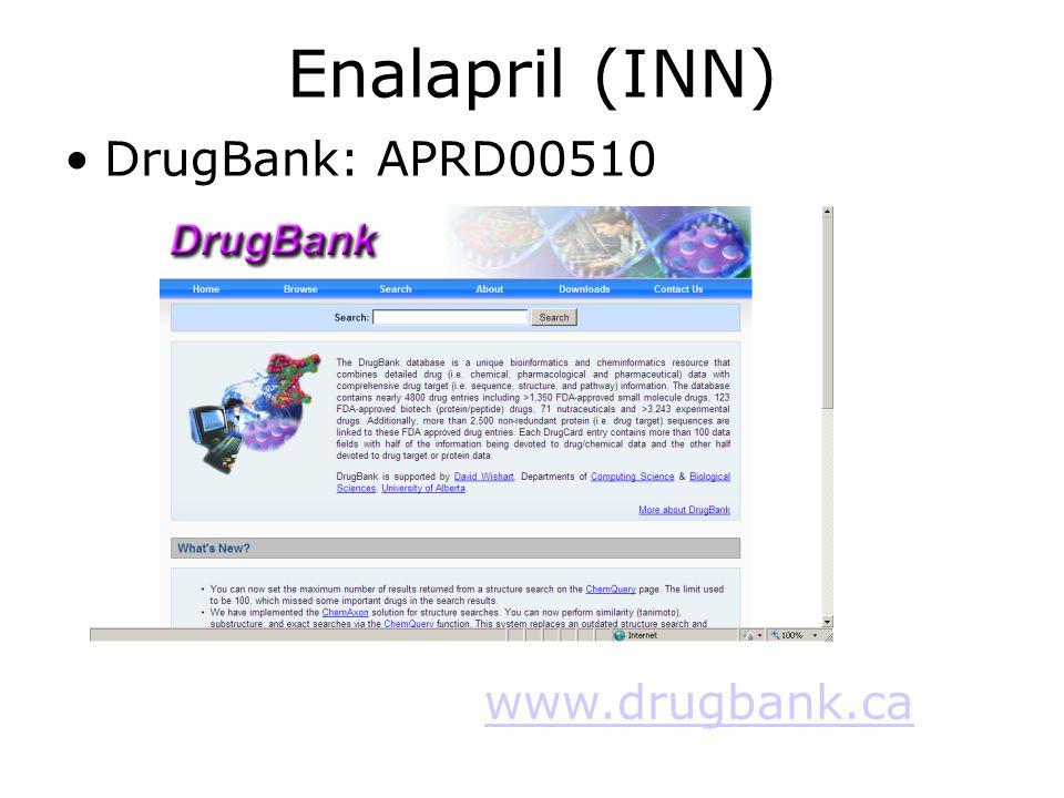 Enalapril (INN) •DrugBank: APRD00510 www.drugbank.ca