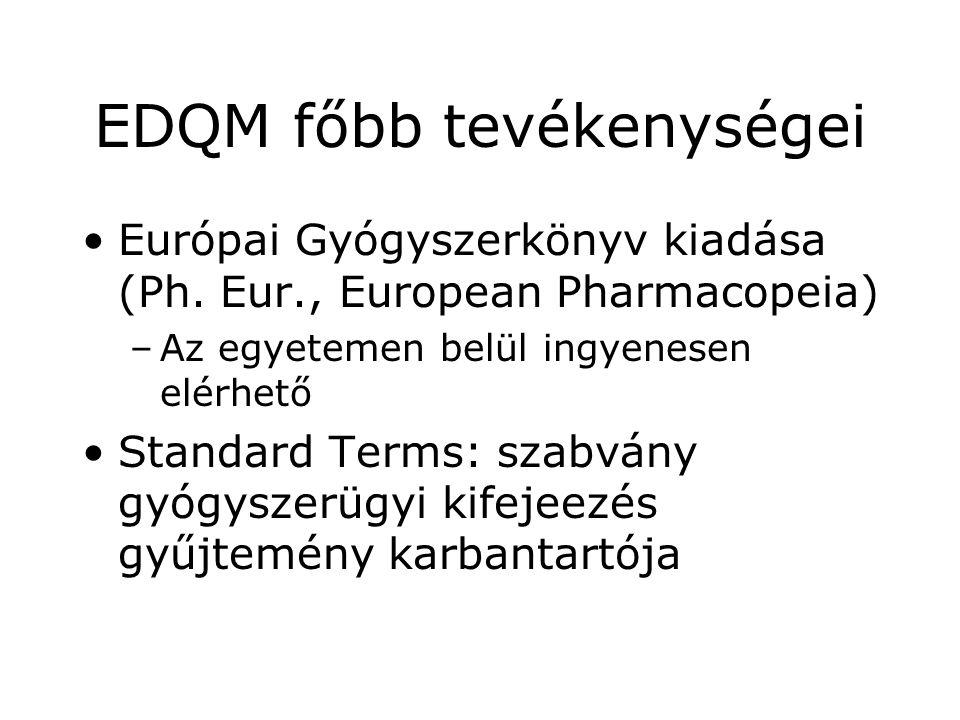 EDQM főbb tevékenységei •Európai Gyógyszerkönyv kiadása (Ph. Eur., European Pharmacopeia) –Az egyetemen belül ingyenesen elérhető •Standard Terms: sza