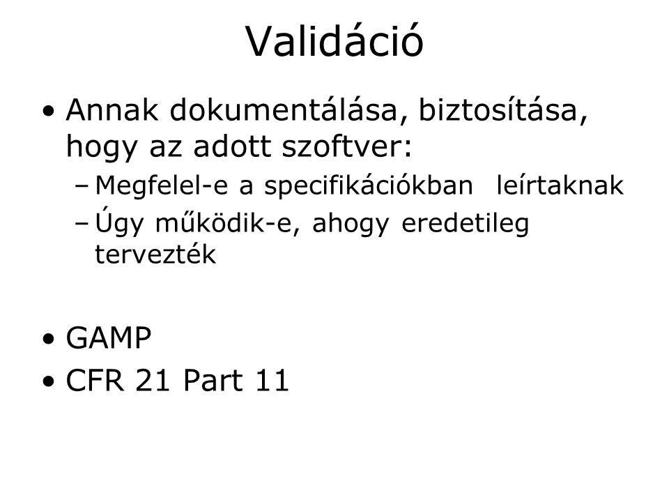 Validáció •Annak dokumentálása, biztosítása, hogy az adott szoftver: –Megfelel-e a specifikációkban leírtaknak –Úgy működik-e, ahogy eredetileg tervez
