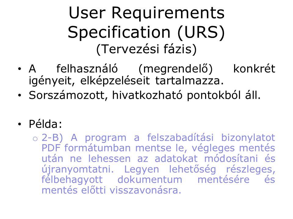 User Requirements Specification (URS) (Tervezési fázis) • A felhasználó (megrendelő) konkrét igényeit, elképzeléseit tartalmazza. • Sorszámozott, hiva