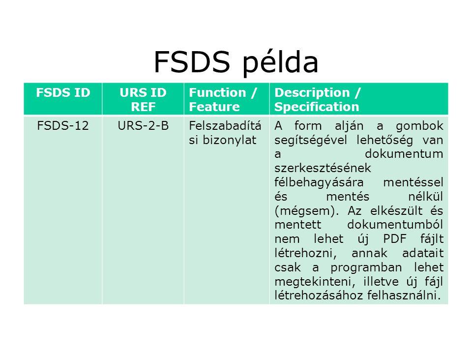 FSDS példa FSDS IDURS ID REF Function / Feature Description / Specification FSDS-12URS-2-BFelszabadítá si bizonylat A form alján a gombok segítségével