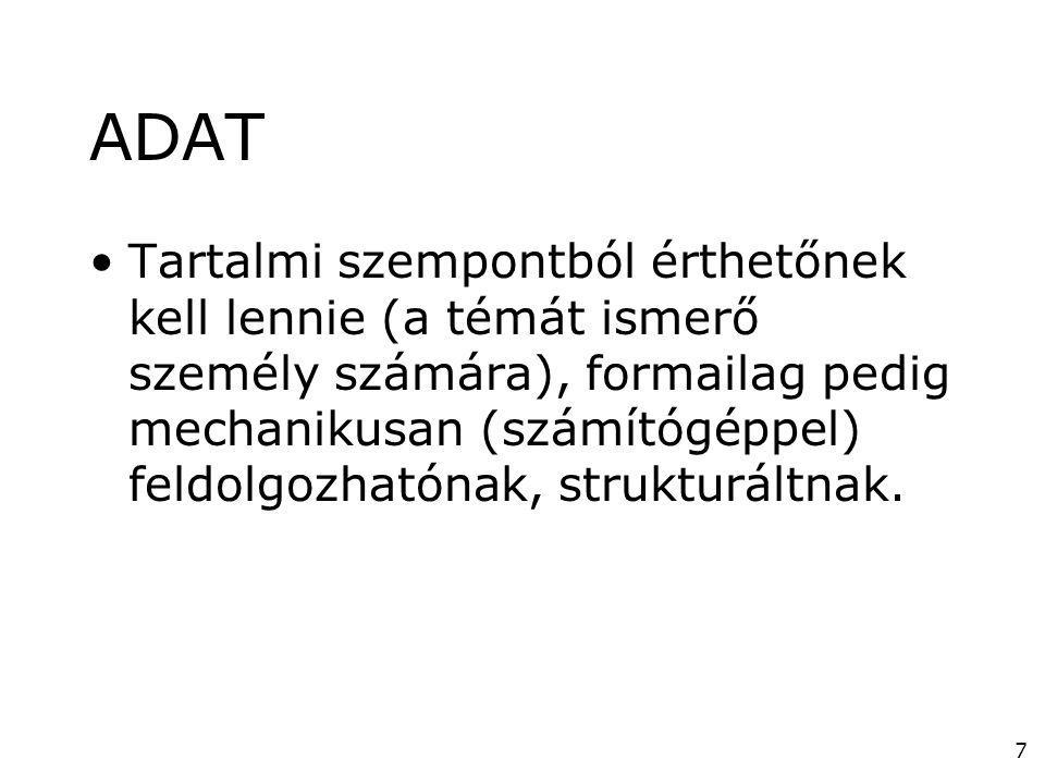 7 ADAT •Tartalmi szempontból érthetőnek kell lennie (a témát ismerő személy számára), formailag pedig mechanikusan (számítógéppel) feldolgozhatónak, s