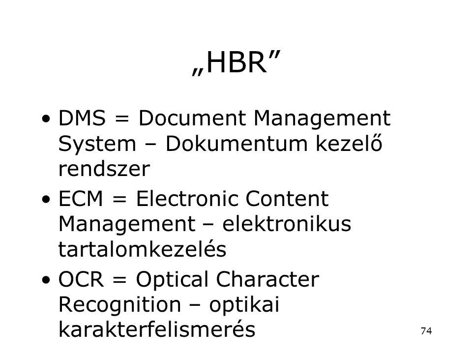 """HBR"" •DMS = Document Management System – Dokumentum kezelő rendszer •ECM = Electronic Content Management – elektronikus tartalomkezelés •OCR = Optica"