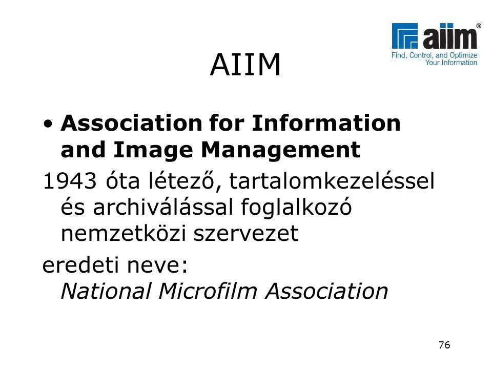 AIIM •Association for Information and Image Management 1943 óta létező, tartalomkezeléssel és archiválással foglalkozó nemzetközi szervezet eredeti ne