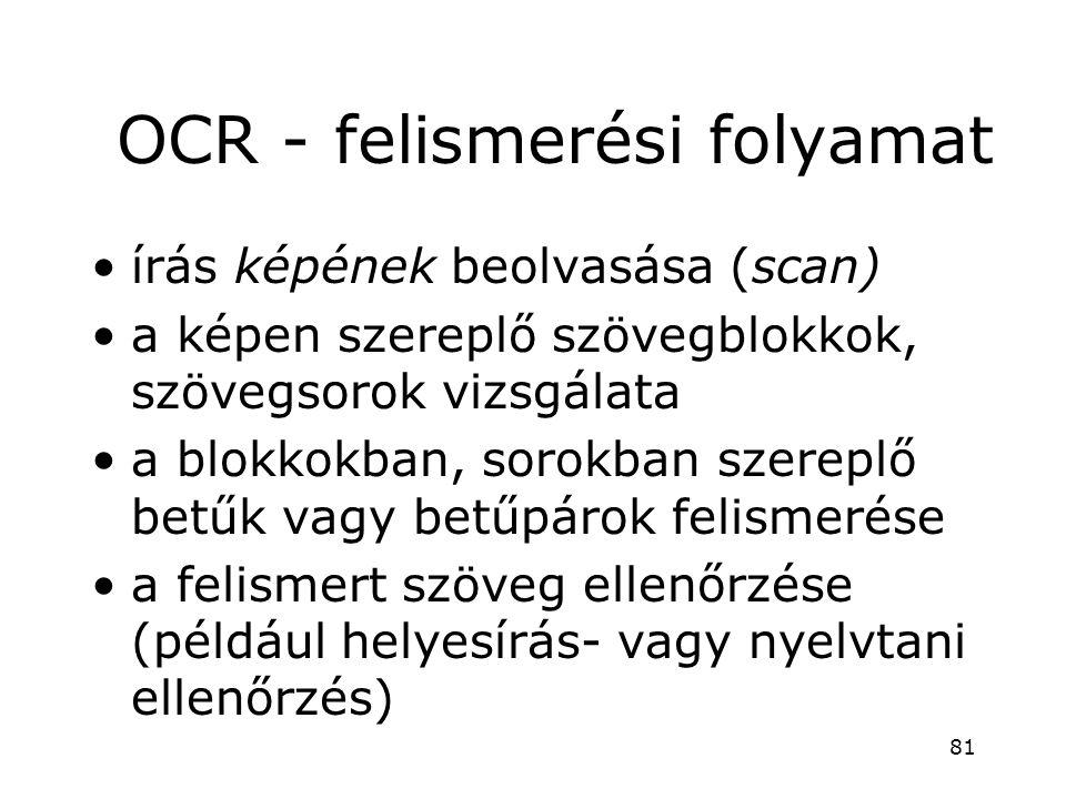 OCR - felismerési folyamat •írás képének beolvasása (scan) •a képen szereplő szövegblokkok, szövegsorok vizsgálata •a blokkokban, sorokban szereplő be