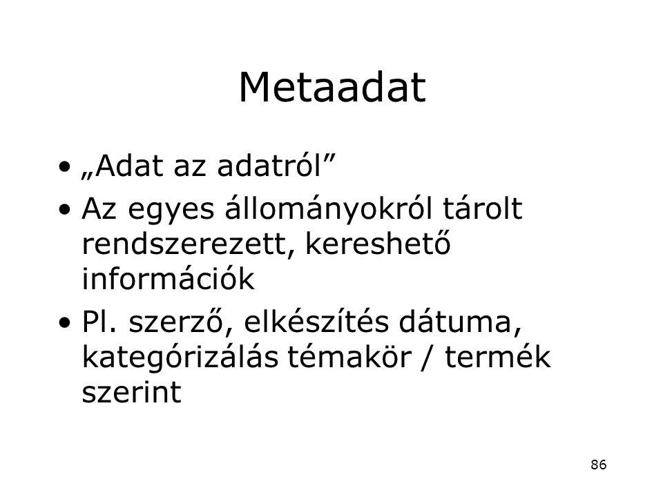 """Metaadat •""""Adat az adatról"""" •Az egyes állományokról tárolt rendszerezett, kereshető információk •Pl. szerző, elkészítés dátuma, kategórizálás témakör"""