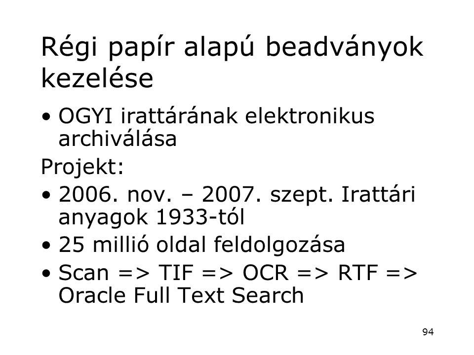 Régi papír alapú beadványok kezelése •OGYI irattárának elektronikus archiválása Projekt: •2006. nov. – 2007. szept. Irattári anyagok 1933-tól •25 mill