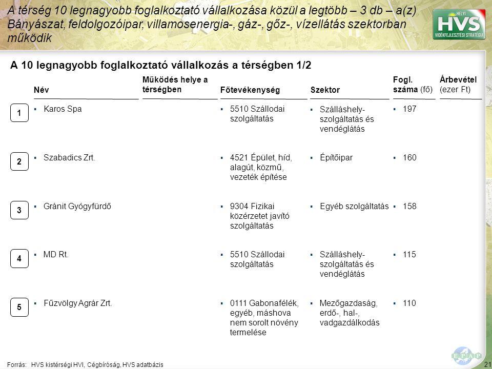 21 Forrás:HVS kistérségi HVI, Cégbíróság, HVS adatbázis A 10 legnagyobb foglalkoztató vállalkozás a térségben 1/2 A térség 10 legnagyobb foglalkoztató