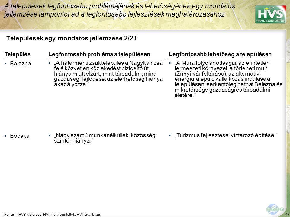 """47 Települések egy mondatos jellemzése 2/23 A települések legfontosabb problémájának és lehetőségének egy mondatos jellemzése támpontot ad a legfontosabb fejlesztések meghatározásához Forrás:HVS kistérségi HVI, helyi érintettek, HVT adatbázis TelepülésLegfontosabb probléma a településen ▪Belezna ▪""""A határmenti zsáktelepülés a Nagykanizsa felé közvetlen közlekedést biztosító út hiánya miatt elzárt; mint társadalmi, mind gazdasági fejlődését az elérhetőség hiánya akadályozza. ▪Bocska ▪""""Nagy számú munkanélküliek, közösségi színtér hiánya. Legfontosabb lehetőség a településen ▪""""A Mura folyó adottságai, az érintetlen természeti környezet, a történeti múlt (Zrínyi-vár feltárása), az alternatív energiára épülő vállalkozás indulása a településen, serkentőleg hathat Belezna és mikrotérsége gazdasági és társadalmi életére. ▪""""Turizmus fejlesztése, víztározó építése."""