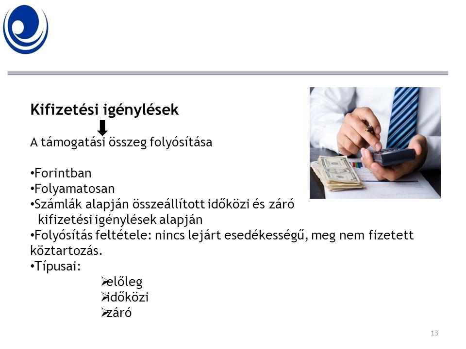 Kifizetési igénylések A támogatási összeg folyósítása • Forintban • Folyamatosan • Számlák alapján összeállított időközi és záró kifizetési igénylések