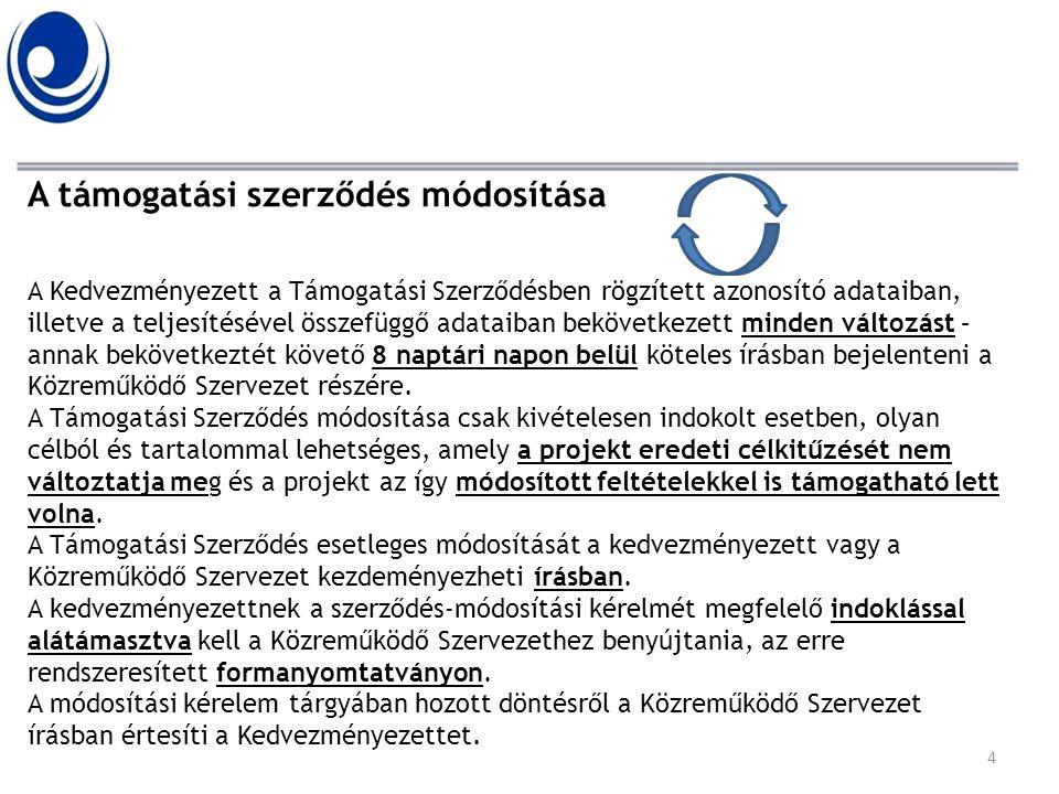 A támogatási szerződés módosítása A Kedvezményezett a Támogatási Szerződésben rögzített azonosító adataiban, illetve a teljesítésével összefüggő adata