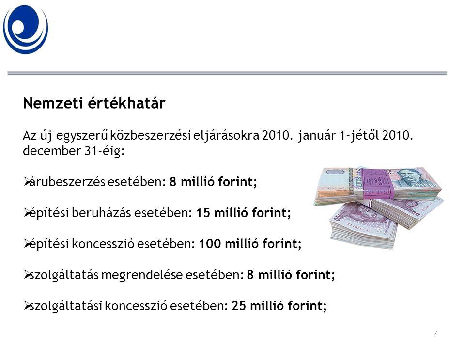 Nemzeti értékhatár Az új egyszerű közbeszerzési eljárásokra 2010. január 1-jétől 2010. december 31-éig:  árubeszerzés esetében: 8 millió forint;  ép