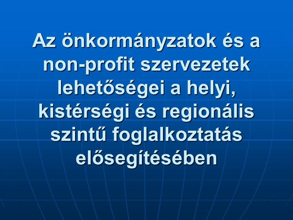 Az önkormányzatok és a non-profit szervezetek lehetőségei a helyi, kistérségi és regionális szintű foglalkoztatás elősegítésében