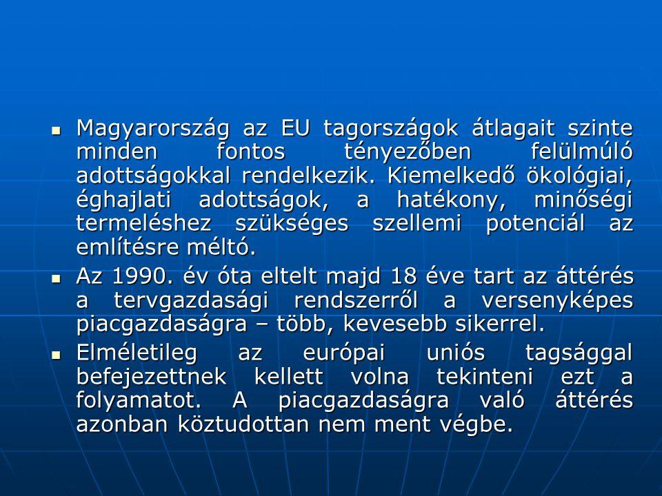  Magyarország az EU tagországok átlagait szinte minden fontos tényezőben felülmúló adottságokkal rendelkezik. Kiemelkedő ökológiai, éghajlati adottsá