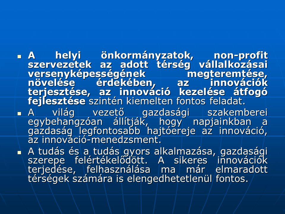  A helyi önkormányzatok, non-profit szervezetek az adott térség vállalkozásai versenyképességének megteremtése, növelése érdekében, az innovációk ter