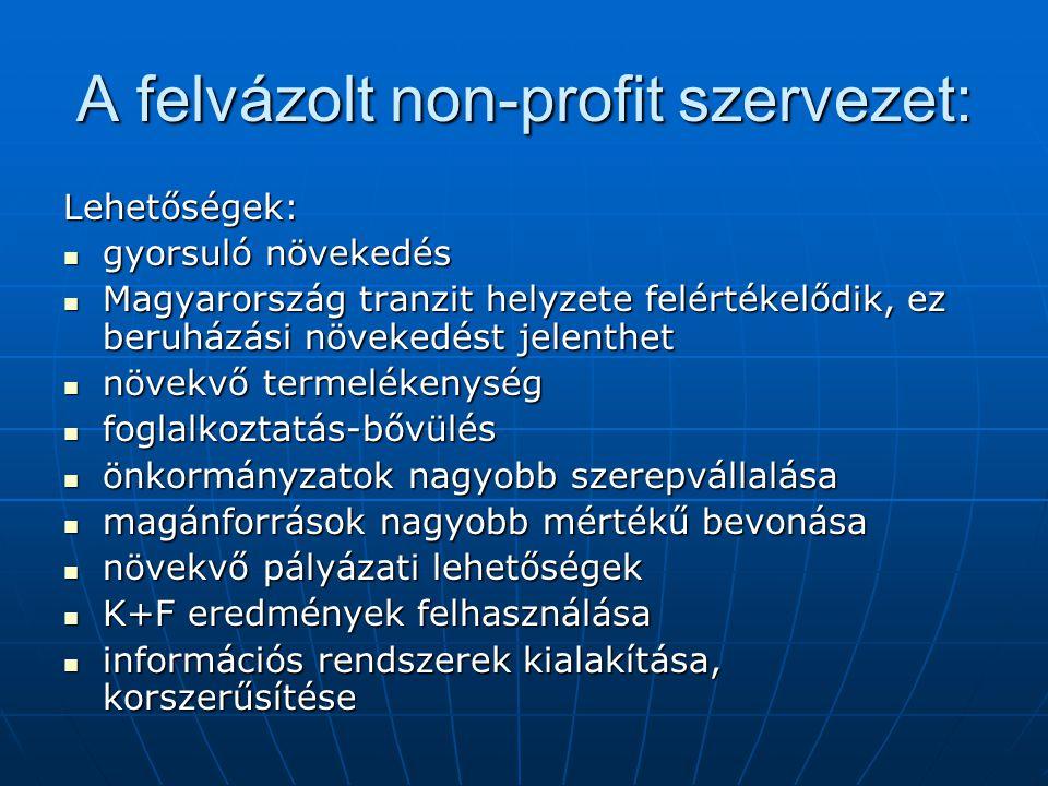 A felvázolt non-profit szervezet: Lehetőségek:  gyorsuló növekedés  Magyarország tranzit helyzete felértékelődik, ez beruházási növekedést jelenthet