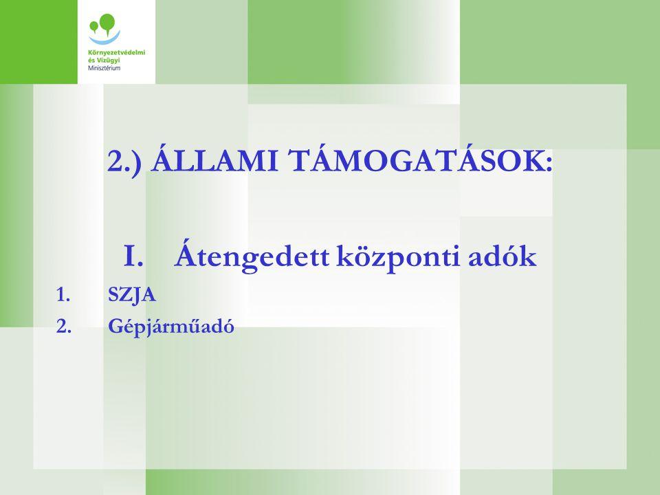 2.) ÁLLAMI TÁMOGATÁSOK: I.Átengedett központi adók 1.SZJA 2.Gépjárműadó
