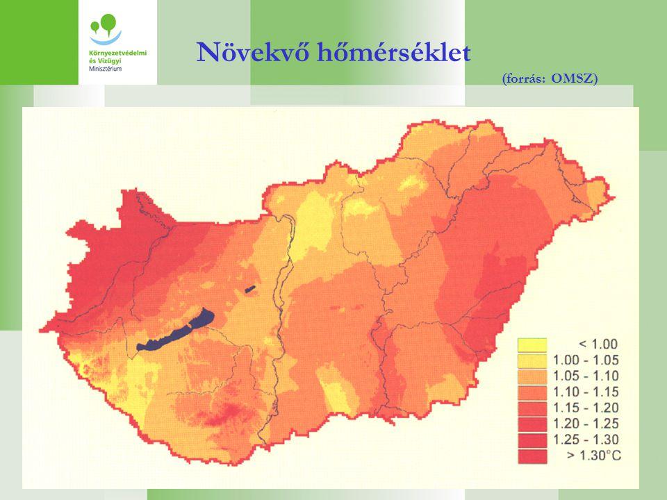 Növekvő hőmérséklet (forrás: OMSZ)