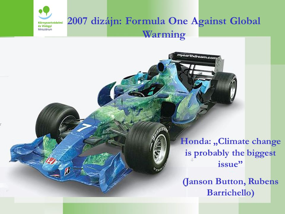 "2007 dizájn: Formula One Against Global Warming Honda: ""Climate change is probably the biggest issue (Janson Button, Rubens Barrichello)"