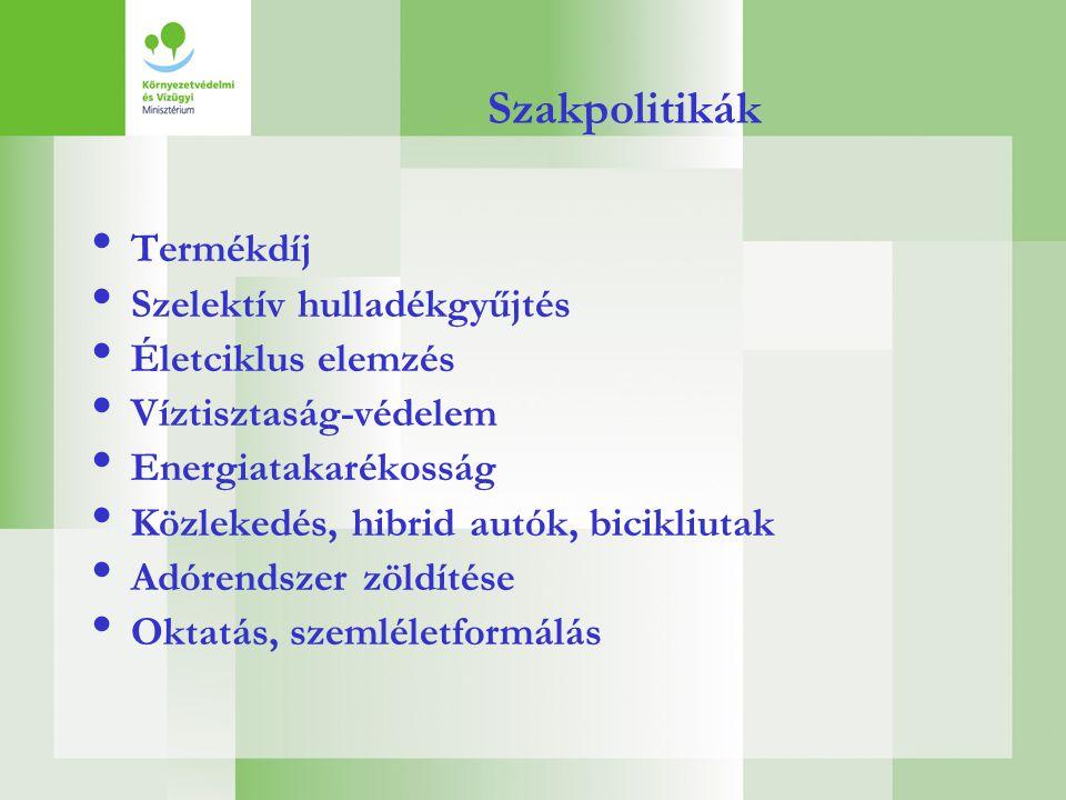 Szakpolitikák • Termékdíj • Szelektív hulladékgyűjtés • Életciklus elemzés • Víztisztaság-védelem • Energiatakarékosság • Közlekedés, hibrid autók, bi