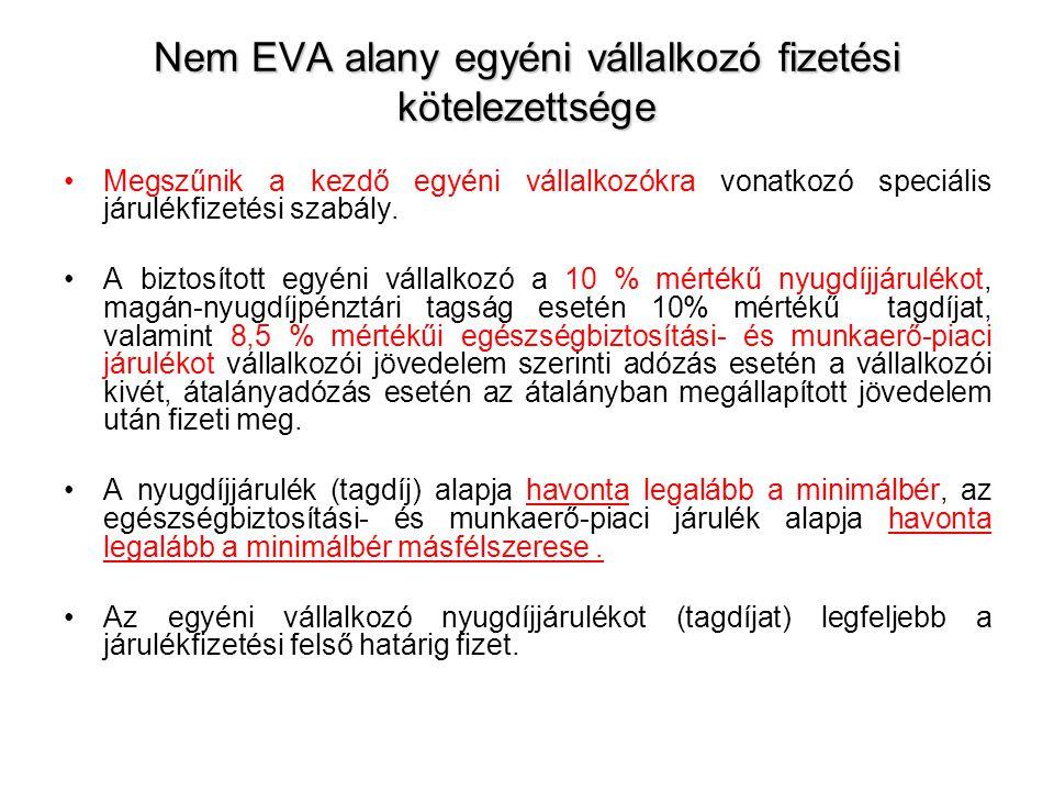 Nem EVA alany egyéni vállalkozó fizetési kötelezettsége •Megszűnik a kezdő egyéni vállalkozókra vonatkozó speciális járulékfizetési szabály. •A biztos