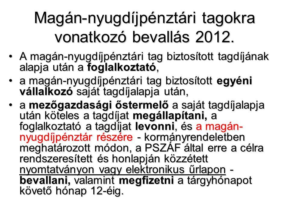 Magán-nyugdíjpénztári tagokra vonatkozó bevallás 2012. •A magán-nyugdíjpénztári tag biztosított tagdíjának alapja után a foglalkoztató, •a magán-nyugd
