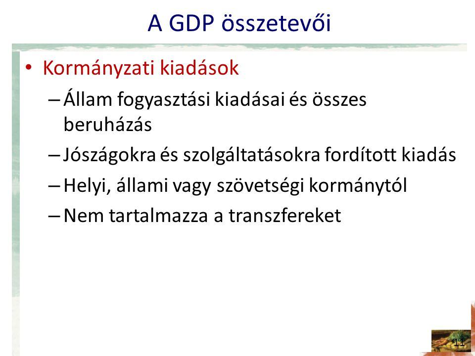 A GDP összetevői • Kormányzati kiadások – Állam fogyasztási kiadásai és összes beruházás – Jószágokra és szolgáltatásokra fordított kiadás – Helyi, ál