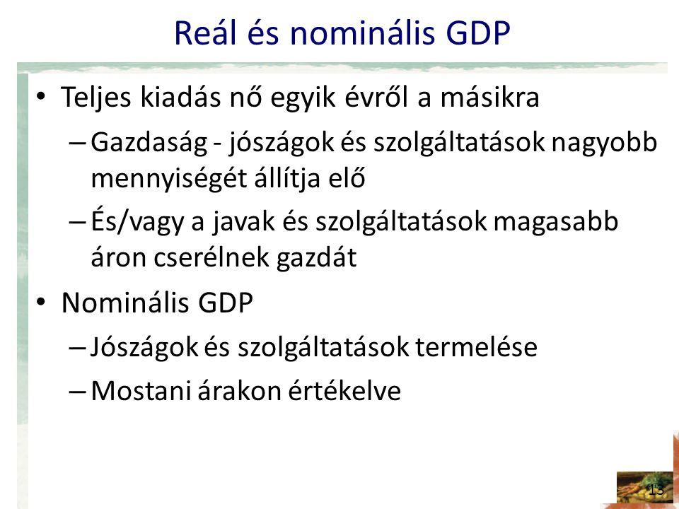 Reál és nominális GDP • Teljes kiadás nő egyik évről a másikra – Gazdaság - jószágok és szolgáltatások nagyobb mennyiségét állítja elő – És/vagy a javak és szolgáltatások magasabb áron cserélnek gazdát • Nominális GDP – Jószágok és szolgáltatások termelése – Mostani árakon értékelve 13